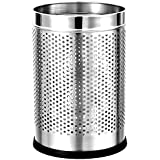 "Mochen® Stainless Steel Open Dustbin for Home, Office, Kitchen, Bathroom, 5 liters (7"" x 11""), Hammer Stainless Steel Finish"