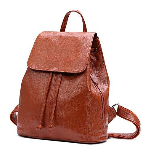 Echtes Leder Handtasche Schultertasche College Wind Rucksack-Tasche Brown