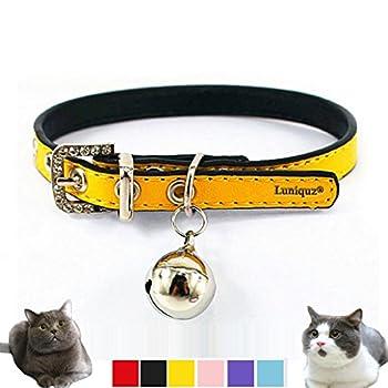 Collier Réglable en Cuir Doux avec Clochette - Collier Chat pour Chat, Chaton, Chiot, Petit Chien (17cm-22cm)-Jaune