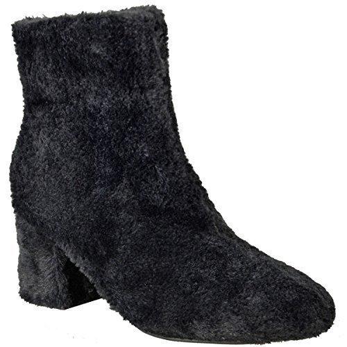 Damen Flach Mid Blockabsatz Kunst Pelzig Haarig Stiefeletten Warm Winter Größe Schwarz Kunstpelz