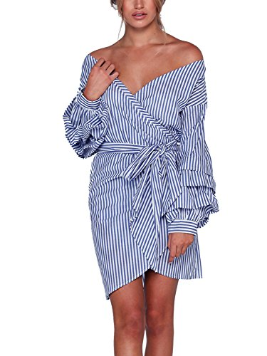 Nachfüllkassetten für Simplee Apparel 3/4 Sleeve V Neck Wrap Drop Off Schulter abgestuftes Bell Sleeve Bluse Taille Krawatte Rüschen Hemd Crop Top Gr. Medium, Blue Dress (V-ausschnitt Ärmel Tunika Bell)
