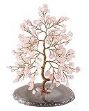 JSDDE Arbre de Vie en Cristal de guérison avec Base en Agate Naturelle Arbre à Argent Feng Shui Décoration, Rose Quartz...