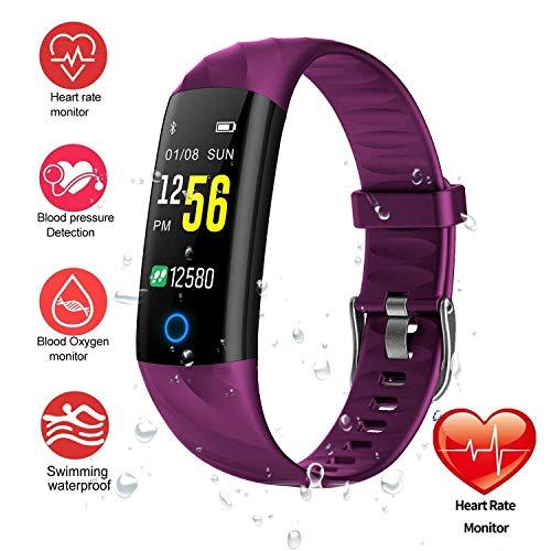 Fitness-Tracker-Uhr, Smart-Armband IP68 wasserdichte Schwimmuhr Aktivitäts-Tracker mit Pulsmesser Schritt Kalorien Zähler Schlaf Pedometer Uhr für Männer Frauen Kinder / Android iOS ( Farbe : Purple )