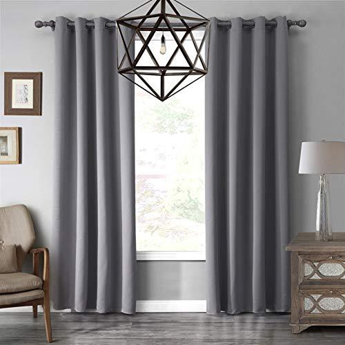 WWBB Blackout vorhänge,Schlafzimmer Wohnzimmer Scheiben Fensterdekoration (Gray)-A 140x220cm(55x87inch)