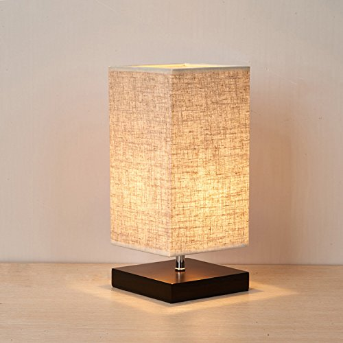 Minimalist Wood Table Lamp, Retro Solid Wood and Fabric Shade Relax Lighting For Bedroom Bedside Desk Lamp, Contemporary Living Room, Study , Cafe , Baby Room