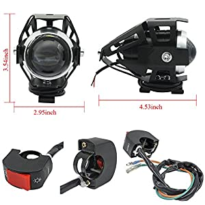 Biqing Faros delanteros para motocicleta,Cree U5 faros auxiliares de moto, 125W 3000LM Focos Antinieblas Luces Moto Led Con interruptor universal(2 piezas)