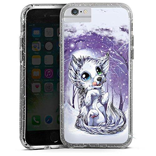 Apple iPhone 6s Bumper Hülle Bumper Case Glitzer Hülle Wolf Zeichnung Forest Bumper Case Glitzer silber