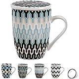 Set 4 tazas de te o infusiones de porcelana, con filtro inoxidable y tapa