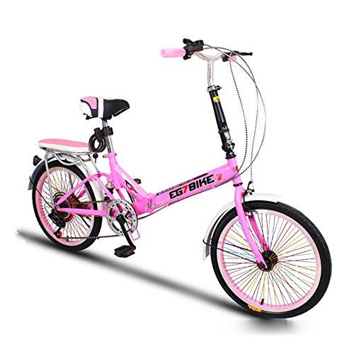 XQ Vélo Pliant Vélo Ultra-léger Portable Mini Petit Vitesse Variable Amortissement 20 Pouces Adulte Bicyclette pour Enfants Hommes Et Femmes Vélo Pliable (Couleur : Rose)