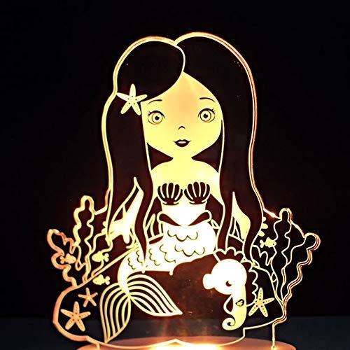 DFDLNL 3D Kleine Meerjungfrau Form Schreibtischlampe 7 Farben Ändern Schlafzimmer Schlaf USB Nachtlicht Led Kinder Cartoon Leuchte Geschenk Wohnkultur -