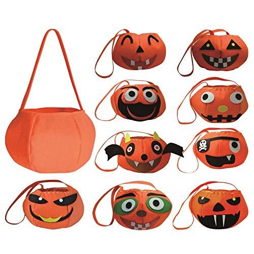 Kostüm Ermutigt - 10 stücke Halloween Süßes oder Saures Kürbis Tasche Handtasche Süßigkeiten Halter mit Gesicht Patches für Kinder Kinder DIY Handwerk