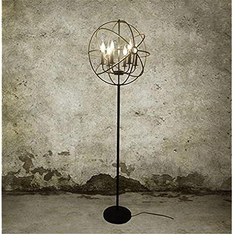 annata lampada da terra soggiorno camera da letto al piano luce E14 ferro cristallo industriale