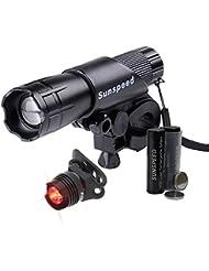 SUNSPEED Wiederaufladbare LED Fahrradlampe/LED Frontlicht und Rücklicht Für Radfahren/500 Lumen /3 Licht-Modi/Rücklicht inkl. Halterung/aufladbareBatterie+ Ladegerät