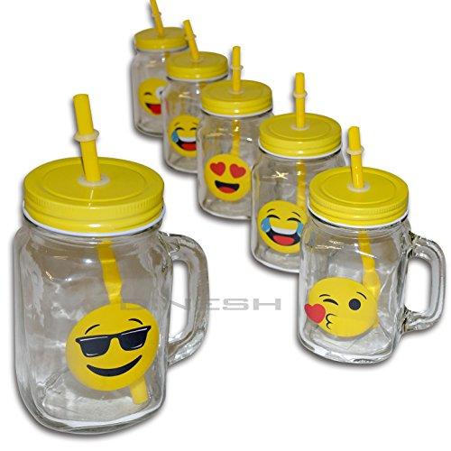 Di-Nesh (073) 6er Set TRINKGLAS Emoji Smiley Henkel Deckel STROHHALM 450ml Becher Glas