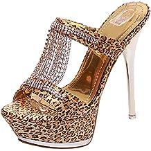 YE Damen Leopard High Heels Sandalen Plateau Offen Pantoffeln Mules Outdoor Slipper mit 13cm Absatz Sommer Abend...