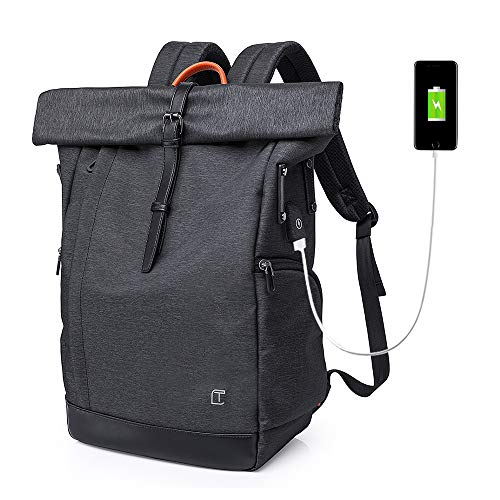 Roll Top Rucksack Anti-Theft Laptop Rucksacks Herren Damen Casual Wasserabweisend Schulrucksack mit USB-Ladeanschluss fur 15.6 Zoll Notebook -25L- Schwarz