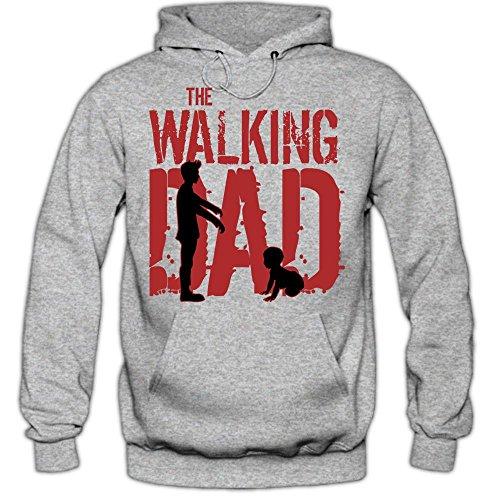 Daddy Hoodie (Shirt Happenz The Walking Dad #6 Hoodie Daddy Papa Evolution Film Klassiker Kult Sprüche Herren Kapuzenpullover, Farbe:Graumeliert (Greymelange F421);Größe:XL)