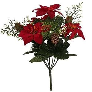 30cm künstlicher Rot Weihnachtsstern & Tannenzapfen Blume Bush Weihnachten Home