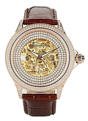 tianrans Herren Kristall akzentuierte Lünette Skelett Zifferblatt Leder Band Rose Gold Edelstahl Automatik Armbanduhr - Gold Diamond Bezel Orologio