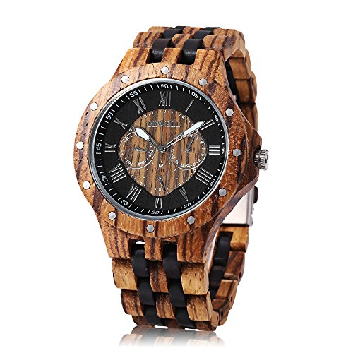 Image of Bewell W116C Mens Wooden Quartz Watch with Luminous Pointer Date Day Display(Ebony/Zebra wood)