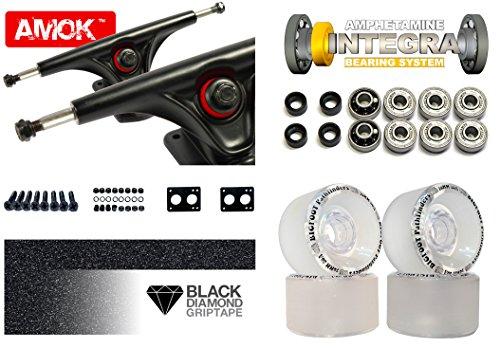 "Longboard Achsen Set Advanced | Amok Trucks 7"" 180mm | Amphetamine Integra ABEC 7 Kugellager | Bigfoot Wheels | inkl Hardware & Griptape (schwarz)"
