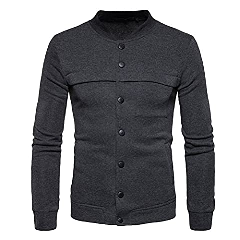 Zhuhaitf Mens Jugendliche Slim Fit Cotton Leisure Sports Button Down Sweater Sweatshirts Cardigan Outerwear for Halloween Graduation (Button-down-cotton Cardigan)