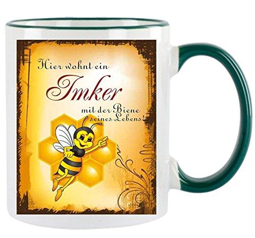 ' Hier wohnt ein Imker mit der Biene seines Lebens ' - Kaffeetasse mit Motiv, bedruckte Tasse mit...
