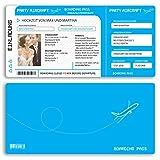 (40 x) Hochzeitseinladungskarten Flugticket Boarding Pass blau Einladungskarten Hochzeit