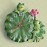 Ranas Hoja de loto Resina Pintura Artificial Reloj de pared Reloj de cuarzo Decoración Reloj...