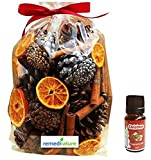 2017 Fresh Made Christmas Fragrance Scented Pot Pourri & Fragrance Oil Gift Bag (500g+10ml): Oranges, Leaves, Pine Cones, Cinnamon Sticks