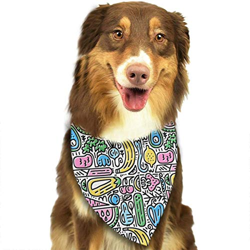 Kostüm Veggie - Wfispiy Fruits and Veggies Pattern Pet Dog Bandanas Triangle Bibs Scarf Accessories for Medium to Large Size