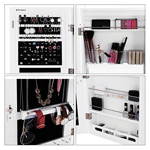 Songmics Schmuckschrank extra breiter Spiegel (Rahmenlose Spiegeltür) Türmontage/Wandmontage mit Schminktisch Innenspiegel abschließbar weiß JBC63W - 4