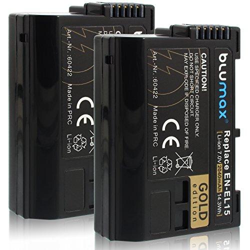 Blumax 2X Gold Edition Akku ersetzt Nikon EN-EL15 EN-EL15a 2040mAh kompatibel mit Nikon D7500 D850 D7200 D500 D7000 D750 D610 D810e D7100 D600 D800 D810 Nikon 1 V1 7,0V 14,3Wh