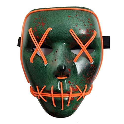 Blaward Halloween Scary Maske Cosplay Led Kostüm Maske EL Wire Leuchten für Halloween Festival Party (Kostüm Halloween Strahlung)