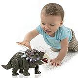 Coorun Gehender Spielzeug-Triceratops Dinosaurier, Elektrisch Automatisches Gehen, Realistische Sounds und Licht, Dinosaurier Spielzeug für Kinder ab 3
