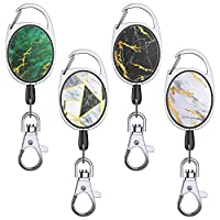 YoungRich 4 PCS Retractable Badge Reel with Carabiner Belt Clip Key Ring 27 Inches Steel Wire Rope Shiny Gold Marble Design Retracting Reel Work Keys Holder 24kg Heavy Duty for ID Card Keys 6.8x3.4cm