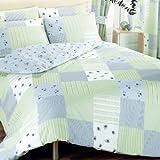 Vintage Chic Floral Patchwork Print Design Reversible Bedding Duvet Quilt Cover Set, Blue - Double Size