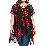 FAMILIZO Camisetas Mujer Verano Tallas Grandes ❤️XL~5XL Blusa Mujer Elegante Camisetas Mujer Manga Corta ️Gasa Camisetas Mujer Fiesta Floral Camisas Mujer Elegantes Largo (5XL, Negro)
