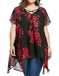 FAMILIZO Camisetas Mujer Verano Tallas Grandes ❤️XL~5XL Blusa Mujer Elegante Camisetas Mujer Manga Corta ️Gasa Camisetas Mujer Fiesta…