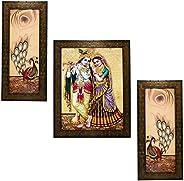 Indianara 3 PC Set of Radha Krishna Art Paintings (1170) Without Glass 5.2 X 12.5, 9.5 X 12.5, 5.2 X 12.5 inch