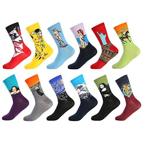 Bonangel calzini vestito arte da uomo calze fantasia uomo calze lunghe in cotone calzini stampato famose moda colorate divertente disegni (12 paia-painting 1)