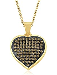 "Silvernshine 1.20 Ct Pave Set Citrine Heart Pendant With 18"" Chain 14K Yellow Gold Fn 925 Silver"
