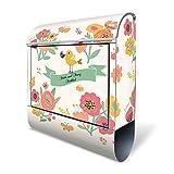 Banjado Design Briefkasten personalisiert mit Motiv WT Vintage Flower | Stahl pulverbeschichtet mit Zeitungsrolle | Größe 39x47x14cm, 2 Schlüssel, A4 Einwurf, inkl. Montagematerial
