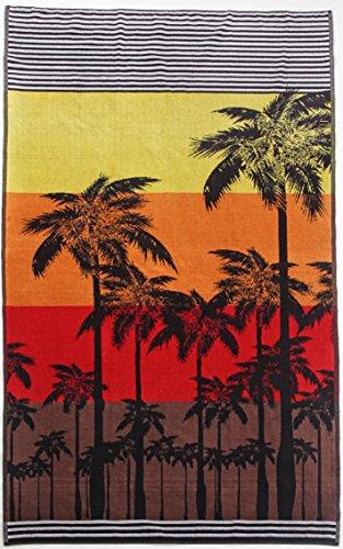 Strandtuch Tropical, ca. 100 x 180 cm Velours Badelaken, gestreiftes Liegetuch mit Palmen, Badetuch in rot, orange, gelb und schwarz (Gestreiften Badelaken)