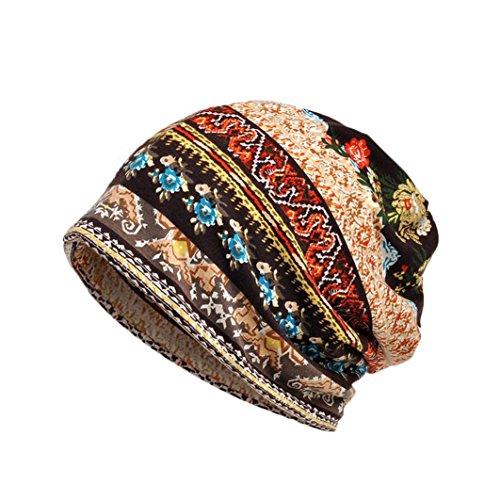 Mützen Und Krebs, Schals (ESAILQ Unisex Print Hut Rüsche Krebs Hut Mütze Schal Kragen Turban Kopf Wrap Cap (Kaffee))