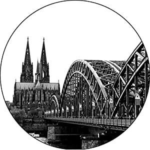"""Design-Magnet 6,3cm (rund)""""Dom mit Brücke (sw)"""", Kühlschrankmagnet, Geschenk, Köln, Dom, Kölngeschenk, Kunst, Cologne"""