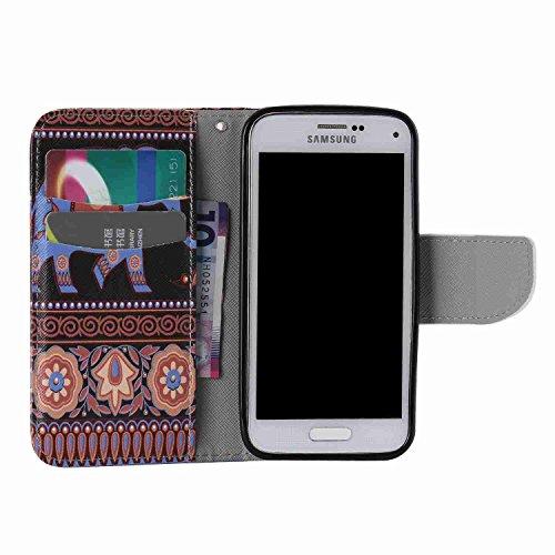 Guran® PU Leder Tasche für Apple iPhone SE / iPhone 5/5S (4 Zoll) Smartphone Flip Deckung Stehen Funktion und Karte Slot Case-See Reflexion color3