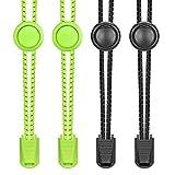 Elastische Schnürsenkel,Furado Schnürsenkel mit Schnellverschluss | Gummi Schnellschnürsystem mit Schuhe ohne Binden für Kinder, Damen, und Herren - 2 Paar (Schwarz+Neon-Gelb)