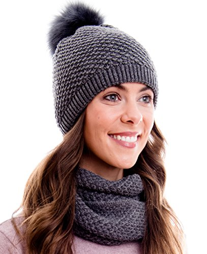 Hilltop Winter Kombi Set aus Winter Schal und passender Strickmütze / Beanie mit Pompon / versch. Designs, Winter Set:Dunkelgrau