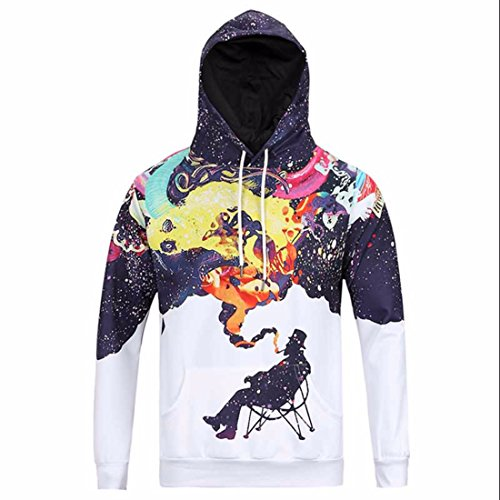 Men's 3D fummy Graffiti painted Harajuku Hoodies MidnightBlue